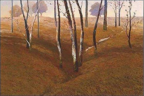 Keilrahmen-Bild - Kent Lovelace: French Oaks Leinwandbild Bäume Landschaft Wald Stämme braun (50x75) -