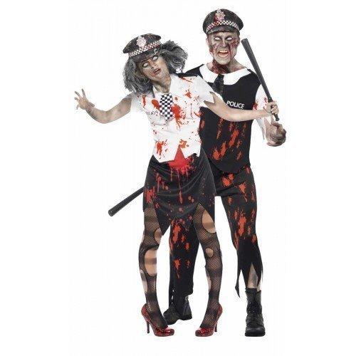 Fancy Me Hommes et Femmes Couples Déguisement Zombie Mort Policier & Policière Flic Policière Latex Halloween Corps Costume Déguisement - Noir/Blanc, Ladies 16-18 & Mens Large, Noir/Blanc