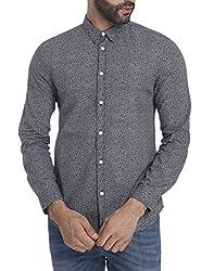Jack & Jones Mens Casual Shirt (_5713235795997_Black_Large )