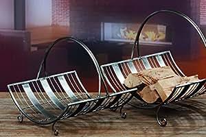 Panier pour bois de chauffage à bûches avec anse en métal-h 45 cm, couleur :  argent