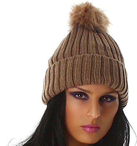 Jela Londres dames bonnet tricoté faux chapeau de fourrure pompon One Size Cappuccino