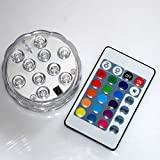 DI-LIFESTYLE DI-LIFESTYLE (961) Shisha LED Untersetzer Wasserdicht Ø 7cm Fernbedienung Klarglas Acryl Leuchtdeko