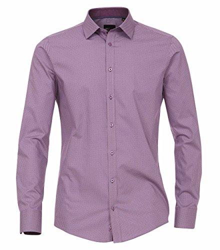 Venti - Slim Fit - Bügelfreies Herren Langarm Hemd mit Kent Kragen und modischem Druck in verschiedenen Farben (162568100) Pflaume (950)