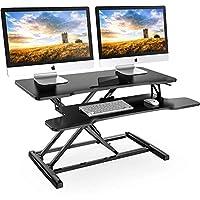 مكتب كمبيوتر قائم مقاس 32 انش من فيتويز مع قاعدة للوحة المفاتيح يناسب الشاشات المزدوجة، طاولة عمل مريحة SD308001WB