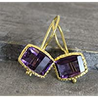 Rectangle Step Cut Amethyst Gold Plated 925 Sterling Silver Earwires Earrings