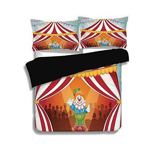 Twin Cartoon Kostüm - LIS HOME Schwarzer Bettbezug-Set, Zirkus-Dekor, Cartoon-Clown im Zirkuszelt Fröhliches Kostüm Lustiger Entertainer Fröhlich, Dekorativ 3-teiliges Bettwäscheset von 2 Kissenbezügen, Twin-Größe