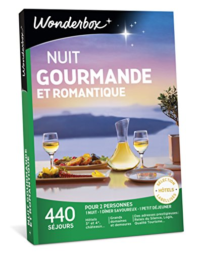Wonderbox - Coffret cadeau couple - NUIT GOURMANDE ET ROMANTIQUE - 440 séjours en...