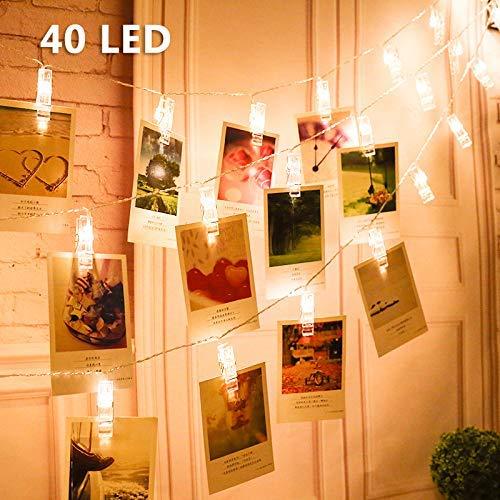 LED Foto Clips Lichterketten, Vegena LED Fotolichterkette Lichterkette Batteriebetriebene Warmweiß Dauerlicht für Bilder Fotos Karten Valentinstag Weihnachten Geburtstag Party Hochzeit Deko 40 LEDs
