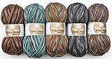 Rellana 5X 100g Merino Sockenwolle Paket 4-fädig Bambus-Merino, 500g Sockenwolle Sortiert