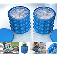 Ice Genie Cube Maker Double-Use Ice Cube Maker Silicone Ice Bucket Ice Cube Moulds Space Saving (Blue)