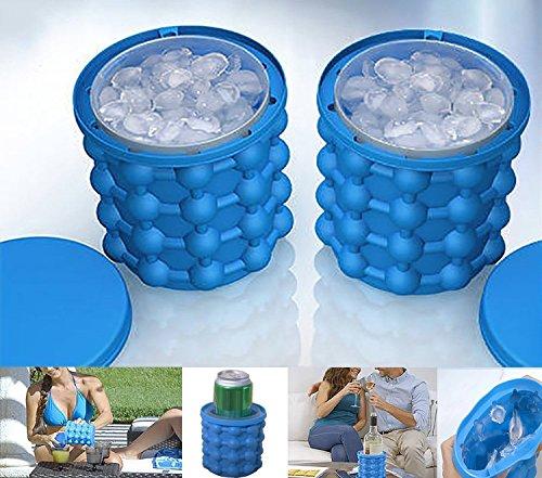 Silikon Eiseimer mit Deckel Eiswürfelform, 2 in 1 aus Doppelwandigem Silikagel Eiskühler, Eiseimer Saving Ice Cube Maker Eiswürfelbereiter und Eiswürfel GefäßKühler für Wein , 1 Stück Pack (Blau)