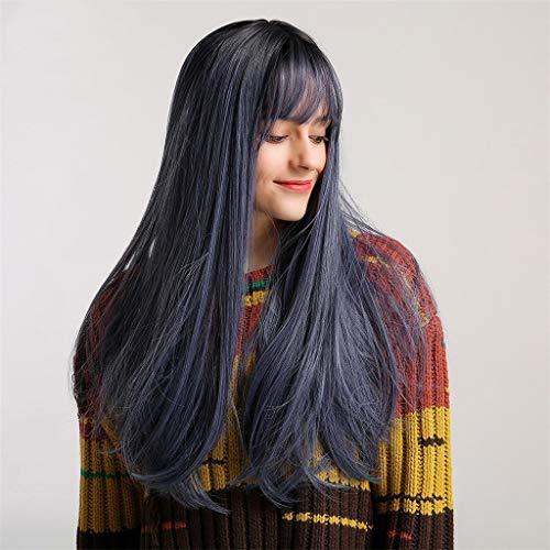Haludock Frauen natürliche lange Perücke schwarzer Farbe Hitzebeständig Cospaly Party Haar Perücke -