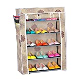 #3: Evana 2 feet Wide , 3 feet Tall , Five Layer Shoe Rack / Shoe Collapsible Almirah Shelf / Folding Shoe Cabinet Portable Foldable Wardrobe,Easy Installation Stand For Shoes- Flower Pattern