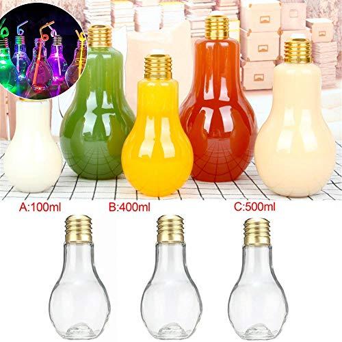 Hete-supply 1/5 STÜCKE Glühbirne Flasche, Glühbirne Vase Klarer Kunststoff Glühbirne Flasche Bars Glühlampe Glas Saft Wasser Getränkeflasche