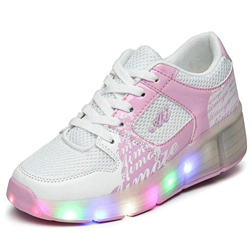 Jungen Mädchen der erwachsenen LED-Licht Roller Skate Schuhe mit eine Rad blinkende Sneakers, weiß - weiß/pink - Größe: 33 EU Jugend