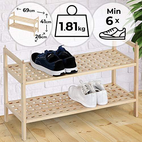 MIADOMODO Schuhregal mit 2 Ablagen | 69/26/41 cm, bietet Platz für mehr als 6 Paar Schuhe, Stapelbarer, Walnussholz | Schuhablage, Schuhschrank, Schuhständer, Schuhbank, Schuhaufbewahrung