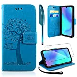 AROYI Huawei P30 Lite Hülle, Handyhülle Huawei P30 Lite Case Tasche Leder Flip Eule Baum Wallet Schutzhülle für Huawei P30 Lite Blau