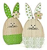 2x Deko Figur Osterhase mit Blüte aus Holz, 17cm, Osterdeko Frühlingsdeko Osterfigur Hase Osterei für Frühling Ostern