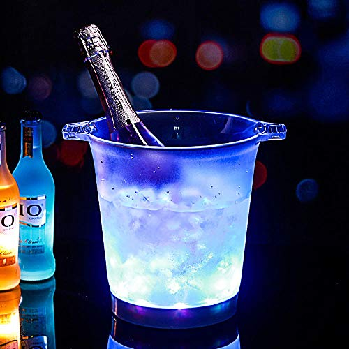 Velliceasay Rotes Licht-emittierende LED-Bier Sektkübel, ideal zum Grillen, Cocktail-Partys, Geburtstage und Jubiläen Flasche Wein oder Champagner Eiskübel, Weinkühler Eimer Toolbars,