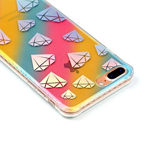 Coque iPhone 7 Plus, Étui iPhone 7 Plus, iPhone 7 Plus Case, ikasus® Coque iPhone 7 Plus Créatif Dégradé coloré arc en ciel Plaquage des couleurs Housse de protection en caoutchouc flexible Silicone É Diamant