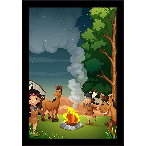 ArtzFolio Farm with Indian Girls Poster Black Frame with Glass 9.5 X 13.5Inch Black Indian Girl