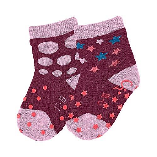 STERNTALER 2er-Pack Krabbelsocken Punkte Baby-Socken Strümpfe, Größe 20, lila