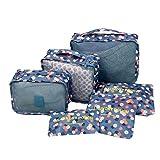 6pc-Set-Organisateur-bagagerie-Sacs-pour-le-camping-Voyage-tanche-bagagerie-blanchisserie-Pouch-emballage-fleurs-bleues