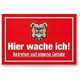 Hier Wache ich (rot) - Hunde Kunststoff Schild, Hinweisschild Gartentor/Gartenzaun - Türschild Haustüre, Warnschild Abschreckung/Einbruchschutz - Achtung/Vorsicht Hund