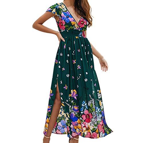 Crylee Hawaiianischer Stil Womens Short Sleeve V-Ausschnitt Kleid Sexy Gabel Eröffnung über Knie Kleid gedruckt Ärmellos Hochzeitskleid Kurz Slim Abend Cocktail Kann für Foto verwendet werden