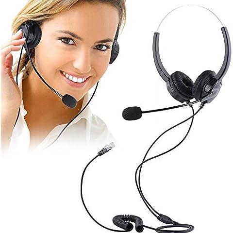 Teléfonos con auriculares, PChero® cancelación de ruido con cable Binaural Auricular Call Center Auriculares con 4-Pin RJ9 Jefe de cristal y Mic