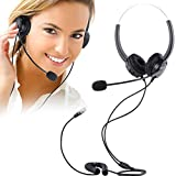 Régulier Casque Téléphones de Bureau, PChero Mains libres Noise Cancelling Corded Binaural Headset Call Center Casque avec 4-Pin RJ9 Cristal Head & Mic (Can pas Compatible avec Panasonic Cisco AVAYA iPECS LIP)