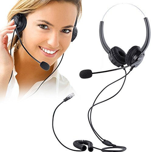 Regelmäßige Ausflüge Phones Headset, Hands-free PChero® Noise Cancelling Corded Binaural Headset Call...