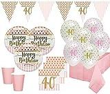 XL 44 Teile Pink Chic Party Deko Set zum 40. Geburtstag in Rosa und Gold Glanz für 8 Personen