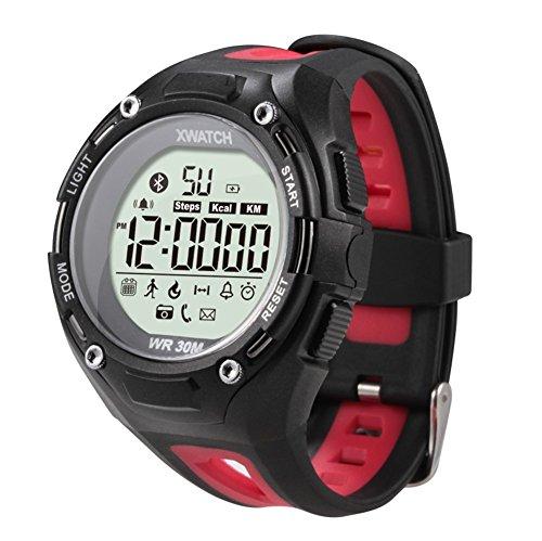 VOSMEP XWatch Smartwatch Sport intelligente Bracciale Supporto Facebook SMS Pedometro consumo calorico cronometro con Bluetooth 4.0 Professional impermeabile ultra lungo standby LED Display con retroilluminazione per iOS / Android Arrampicata libera, arrampicarsi, Correre, all'aperto, le vacanze rosso SM049