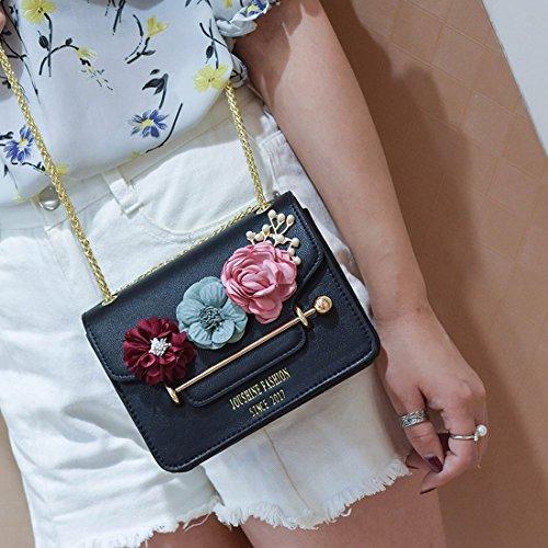 Weibliche Hit Farbe Blumen Kleine Quadrat-Paket Arbeiten Schulterbeutel Einfache Kette Messenger Tasche Schwarz