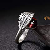Aoligei Einstellbarer Ring S990 Sterlingsilber Intarsien Juwel Weiblichen Retro-Matte Blatt Tropfring