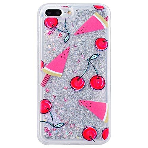 GrandEver Coque iPhone 7 Plus Glitter Liquide à Paillette Souple TPU Silicone Gel Transparente Case avec Bumper à Motif Design Dessin Animé --- Couronne melon d'eau