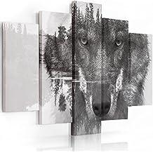 Feeby Frames, Cuadro en lienzo - 5 partes - Cuadro impresión, Cuadro decoración, Canvas (LOBO, BLANCO Y NEGRO) 100x150 cm, Tipo A