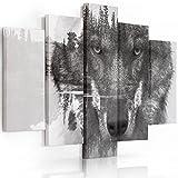 Feeby Frames, Leinwandbild Bilder Wand Bild - 5 Teile - Wandbilder Kunstdruck (Wolf SCHWARZ UND WEIß) 100x150 cm, Typ A