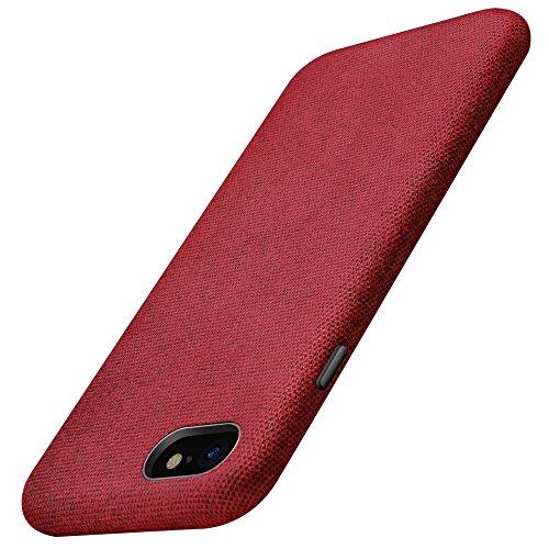 XUNDD iPhone 8 Hülle, iPhone 7 Hülle Leinen Schutzhülle mit [Freiem Gehärtetem Glas Schutzfolie] Oberfläche aus Baumwolle Anti-Fingerabdruck, Anti-Stößen für Apple iPhone 7/8 Rot