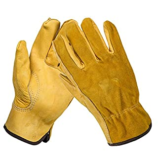 Heavy Duty Gardening Gloves for Men & Women, 1Pair Thorn Proof Leather Work Gloves, Waterproof Slim-Fit Reinforced Rigger Gloves, Durable and Flexible(Large)