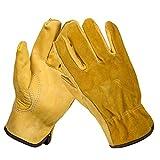GeKLok Robuste Gartenhandschuhe für Herren und Damen, 2Paar Thorn Proof Leder Arbeitshandschuhe, Schmalem verstärkte Rigger Handschuhe Wasserdicht, Robust und Flexibel