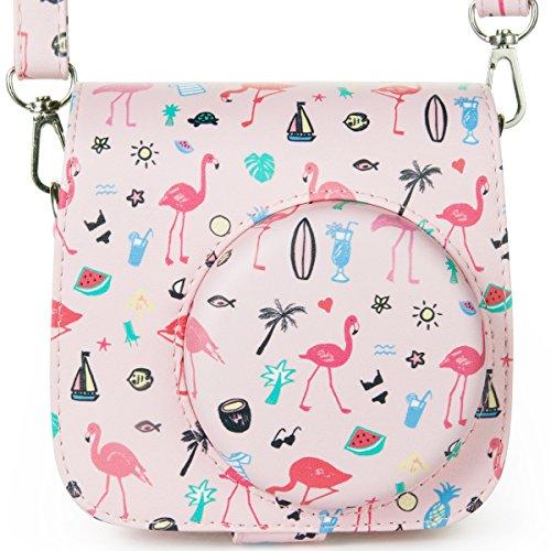 Versteckte Kamera-tasche (Woodmin Fujifilm Instax Mini 8 8 + Mini 9 Fall Abdeckung PU Schutz Fall für Kamera für Fuji Instant Mini 8 8 + 9 (Rosa Flamingo))