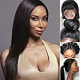 Giannay Hair Brazilian Silk Top Full Lace Wigs Straight Hair Silk Base Virgin Human Hair Wig Pre Plucked Hairline With Baby Hair ( 18 Inch 180% Density Free Part ) Natural Color for Black Women