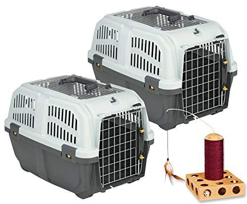 PETGARD 2er Sparpack Transportbox Hundebox Katzenbox SKUDO 2 Open mit gratis Katzenspielzeug (36 X 24 Hundebox)