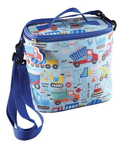 Floss & Rock Isolierte Lunchtasche mit abnehmbarem Gurt und Getränkehalter, Textil, Construction, 8.5x8.5 inch -
