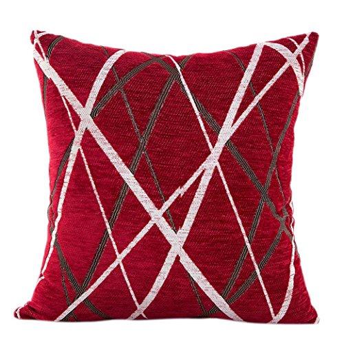 LuckyGirls Kissenbezug 42 x 42 cm Plüsch Kissen Sofa Taille Wurf Kissenbezüge Fall Chenille-Strahl Streifen kissenhüllen (rot) (Schwarz Und Rot-sofa-kissen)