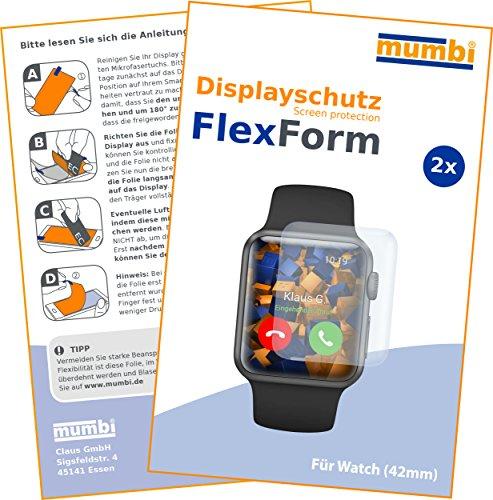 mumbi Flex Schutzfolie kompatibel mit Apple Watch 42mm Series 1 Folie, Watch 42mm Series 2 Folie, Displayschutzfolie (2x)