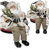 JEMIDI Handgefertigte Weihnachtsmann Figuren Nikolaus Deko Figur Dekofigur Weihnachtsmänner sitzend stehend Kian 40cm