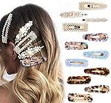 Coucoland 12 Stück Damen Perlen Haarclips Acryl Haarspangen Vintage Barrettes Haarnadeln Set für Mädchen Frauen Haar Accessoires (Set-1)